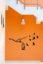 Wall Vinyl Stickers  Birds In Cage Branch Tree Cool Decor For Your Place  z1569