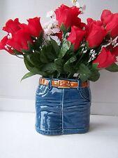 MED ceramic blue denim skirt novelty vase planter dressing table ornament new