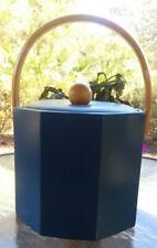Vintage Georges Briard Usa Blue Ice Bucket-Bamboo Handle