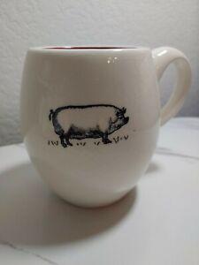 Magenta Exclusive Rae Dunn Pig Mug Red White Coffee Cup Rare HTF