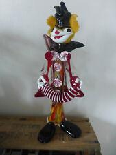 figurine clown musicien sculpture verre Murano vintage 36 cm annee 60 antique