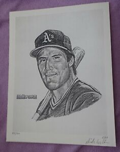 """Dick Williams artist signed/numbered b/w 8.5 x 11"""" JOSE CANSECO art print"""