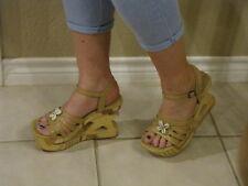 Retro 90s dance , Splash fashion, wood cut out wedge high heels, sz. 7 m