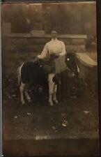 Real Photo Postcard RPPC ~ Woman & Shetland Pony ~ Animal ~ Horse
