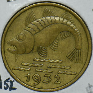Danzig 1932 1-year type 10 Pfennig Fish animal 290969 combine shipping