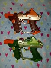 Tiger Electronics LAZER TAG Team Ops Grn&Org Deluxe Laser GUN - LOT OF 2! *#3*