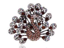 ChicDesign Topaz Crystal Rhinestone Dark Silver Tone Peacock Fowl Bird Ring