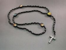 Rosary Necklace BLACK Hematite Bead 2-Sided Crucifix Saint Holy Image LOW STOCK!