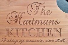 Personalized Bamboo Cutting Board with Last Name and Date Christmas Gift 13 3/4""