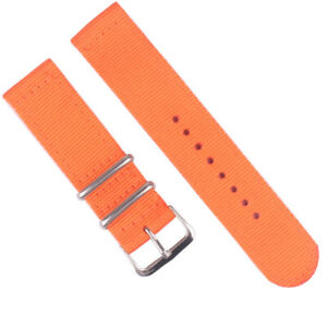 2-Pieces Watch Band Canvas OTAN Straps 18 20 22 24mm Nylon Military Sport Stripe
