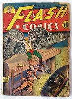 1941 DC Comics ~ FLASH COMICS #15 ~ missing centerfold ~ Flash, Hawkman, more