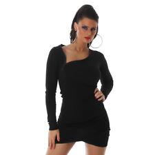 Sexy Kleid langarm Minikleid mit Reißverschluss Strickkleid 34 36 38 Schwarz