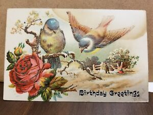 A beautiful embossed birthday greeting post card