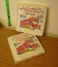 HEX SIGNS vtg napkins NWT Pennsylvania Dutch folk art Amish barn symbols 1970s