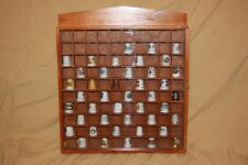 Vintage Lot of 43 Collector Souvenir Sewing Thimbles w/ Sliding Display Case