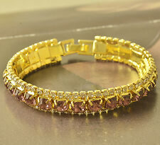Around Pink Cubic Zirconia 9K Yellow Gold Filled Womens Bracelet 190*11mm F5621
