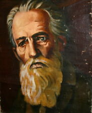 Bulgarian Art, Old Male Portrait, Vintage Oil Painting, Signed