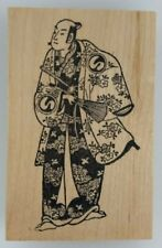 ASIAN MALE in Floral Kimono Japanese Chinese Rubber Stamp NEW