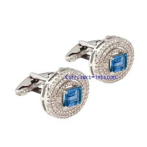 Natural Blue topaz & CZ Gemstones With 925 Sterling Silver Cufflinks For Men's