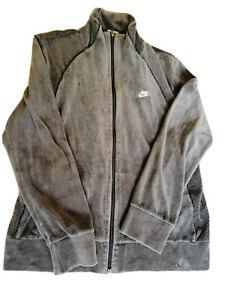 NIKE Womens Olive Green Velour Track Jacket Size XL Vintage Running