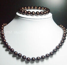 Beauty 10mm Brown Round South Sea Shell Pearl Necklace Bracelet Jewelry Set