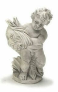 Dollhouse Miniature Gray Statue - Angel with Fish by Falcon Miniatures