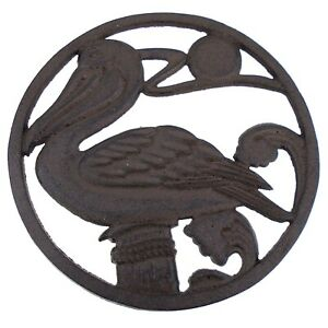 Pelican Perched on Piling Kitchen Trivet Cast Iron 7.75 Inches