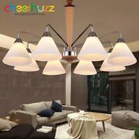 New Modern Wooden Glass Pendant Lamp Ceiling Light Chandelier Lighting Fixtures
