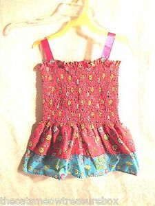 Girls Sun Dress Pink and Blue Flowers Handcrafted