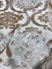 Beige Cream Cut Velvet Modern Print Obsession Upholstery Fabric Sold By The Yard