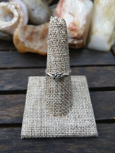 Vintage Sterling Silver Rose Adorned Ring Sz 8 Very Pretty Little Details M