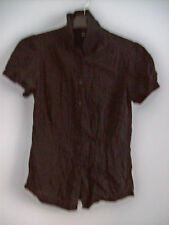Top Ladies Buttoned Black Top by TopShop Size 10 Cotton