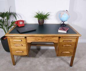 Abbess Oak Teacher's Desk - Mid-Century - Vintage - Upcycled