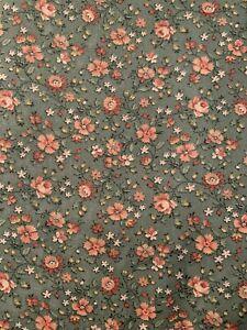 "5 Yds X 44"" 2 Pieces Vintage Wamsutta Cranston ? Blue Cotton Fabric With Flowers"
