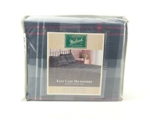 Woolrich Queen Sheet Set Colby Black / Red Plaid Polyester Microfiber 4pc New