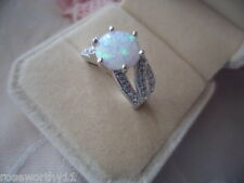 Antique Vintage Sterling Silver round Opal Dress Ring size P Art Deco setting