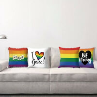 EE_ RAINBOW STRIPED LETTER PRINT PILLOW CASE CUSHION COVER SOFA BED HOME DECOR F