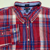 Tommy Hilfiger Button Up Shirt Men's 2XL XXL Long Sleeve Multi Plaid Trim Fit