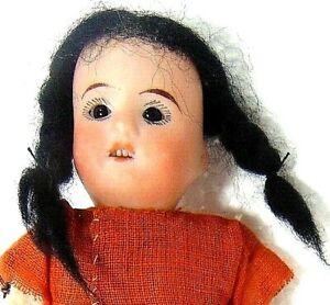 "German 6"" Recknagel Bisque Head Papier Mache Body Doll Glass Eye O Mouth Teeth"