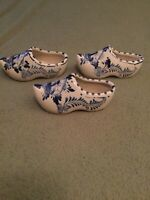 3 Ceramic Delft Blauw Dutch Clog Shoe Hand Painted Blue White, Made In Holland