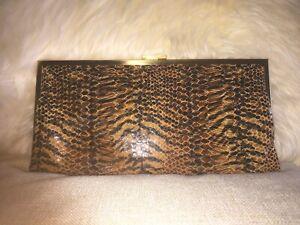 Hobo International Black Brown Gold Clutch Wallet Animal Print