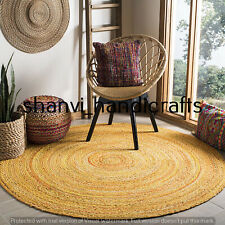 Round Braided Cotton Chindi Rugs Bohemian Floor Handmade 7 Feet Area Rugs Carpet