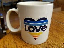 Life is good Jakes Love Striped Rainbow Heart Coffee Tea Mug