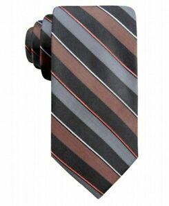 Ryan Seacrest Distinction Men's Neck Tie Gray Bragg Striped Skinny Silk $59 NWT