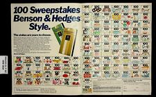 1980 100 Sweepstakes Benson and Hedges Cigarettes Vintage Print Ad 17871