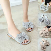 New Womens Slip On  Bow Flatform Mule Summer Sandals Comfy Shoes Sizes