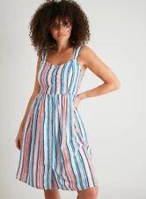 Multicolored Stripy Summer Dress size 8 Petite 50's Fit & Flare Beach Sundress