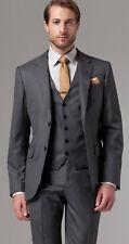 Men Designer Wedding Grooms Grey Tuxedo Dinner Casual Suits (Jacket+Vest+Pant)UK