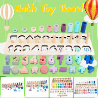 Kid Children Wooden Montessori Toy Number Math Counting Board Color Sorting Toy