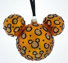 Disney Parks Mickey Icon Cheetah Christmas Glass Ball Ornament New With Tags